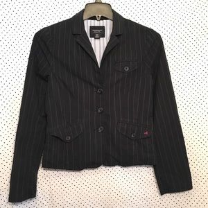 Striped Button Down Long Sleeve Cotton Blazer